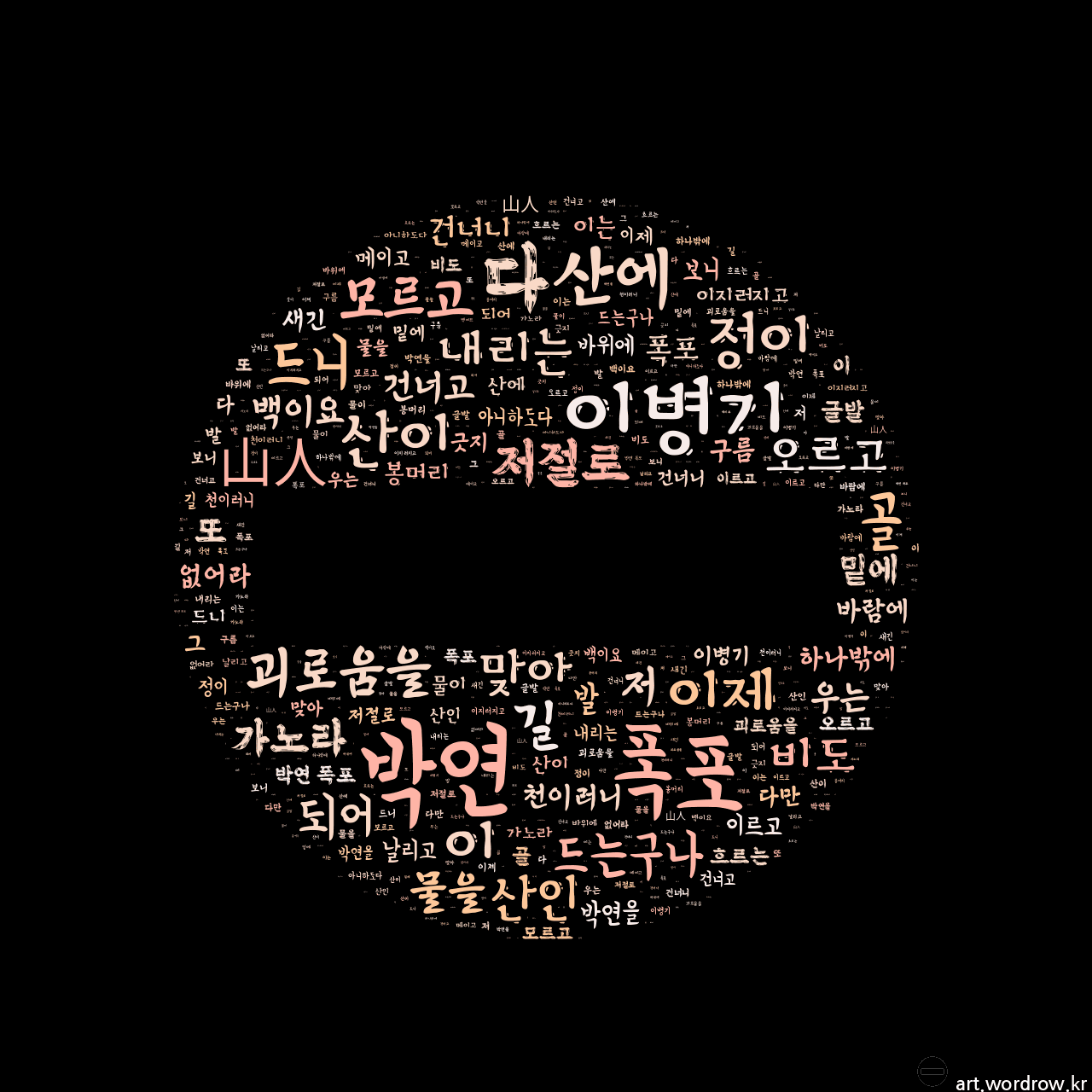 워드 아트: 박연 폭포 [이병기]-3